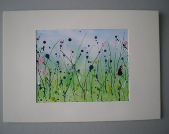 Summer meadow, Original encaustic wax art greetings card