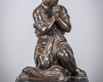 Beautiful Child Jesus Praying Bronze Sculpture Young Christ Vintage Statue Marble Base