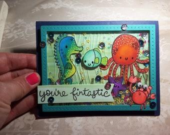 You're Fintastic ocean friends shaker card