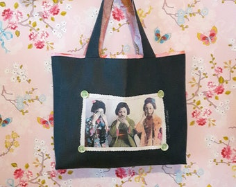 tote bag in denim, Japanese fabric, the Geischas
