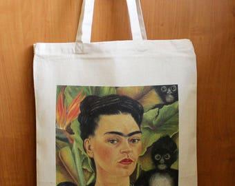 Frida Kahlo Bag, Frida Kahlo Tote, Frida Kahlo Shopping Bag, Frida Kahlo Art, Frida Kahlo Painting, Frida Kahlo Cotton Canvas Bag, Frida