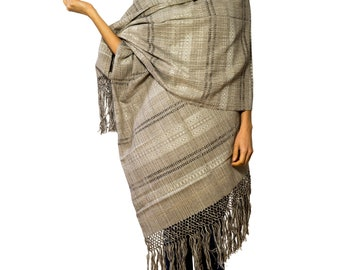 "Mexican Rebozo Scarf  ""Gris"" - handwoven"