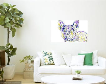 FRENCH BULLDOG--INSTANT download, frenchy, artwork, wall print