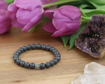 Grey bracelet mala, matt hematite tibetan rose bracelet, mindfulness meditation mala, gift for yogi, spiritual bracelet, yoga mantra tool