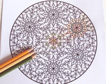 Adult Colouring Page 5 - PDF Printable Colouring Page - Intricate Mandala Art - Victorian Inspired Floral Art - 'Flora' - Instant Download