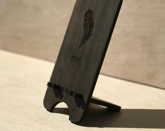 Brave Feather Wood iPhone Stand