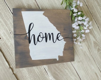 State Wood Sign, Home State Sign, Georgia Wood Sign, Rustic Wood Signs, Wall Decor, Wood Wall Art, Home Decor,  rustic wall decor.