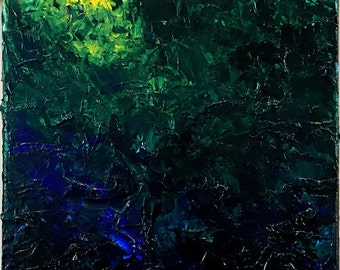 Abstract Acrylic Painting Yellow to Blue
