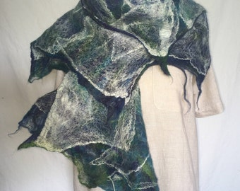 Nuno felted scarf, with silk and merino wool, green/blue/lime/turqoise/white