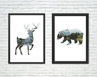 Woodland Nursery Wall Art,woodland set of prints,Deer Wall Art,Bear print,Boys room,Nature print,Rustic Boy Nursery,mountains photo print