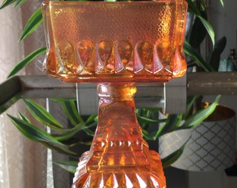 Vintage Carnival Glass Candy Dish Vintage Amber nut Dish Lustreware Glass Candy Dish Free Shipping
