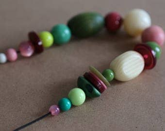 Burgundy/Pink/Cream/Green Necklace, Chunky Beaded Necklace, Recycled Beads, Repurposed Necklace