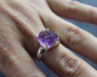 Raw Amethyst Ring, 925 Sterling Silver, Size 8.5, February Birthstone, Amethyst Jewelry, Bohemian