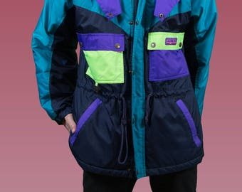Vintage Neon SKi Jacket / Medium Mens 90's Boréal  Color Blocked Windbreaker Coat / Sporty Jock Hockey University Coat