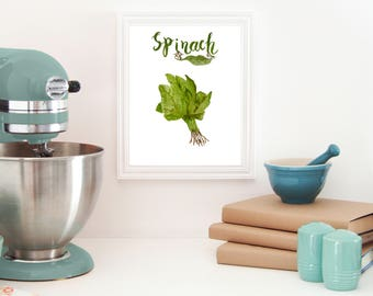 Spinach decor, Greens print, Vegetable print, Kitchen wall decal, Kitchen decor wall, farm decor kitchen, country kitchen decor