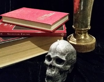Grey Textured Scented Skull Candle