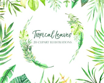 tropical leaves clipart, tropical wreath, tropic illustrations, floral elements, watercolor branches, green leaf, foliage, diy clipart, leaf