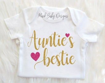 Aunt Onesie, Aunties Bestie, Aunt Baby Clothes, Baby Clothes Aunt, Auntie Onesie, Baby girl Clothes, Aunt Bodysuit, Baby Shower Gift, Aunt