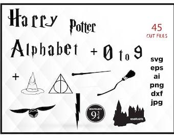 Harry Potter SVG Harry Potter Alphabet svg Harry Potter svg alphabet svg font svg SVG files for Cricut Silhouette Svg 1 to 9 numbers