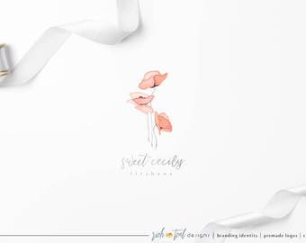 Premade Logo, Feminine Design, Florist logo, floral logo, Blog logo, branding logo, Wedding logo, Photography Logo, watercolor flower, poppy