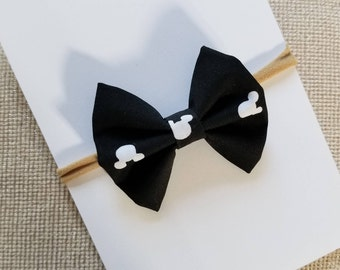 Classic Black and White Mickey Mouse Bow