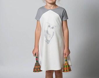 Tunic dress for girls, Girls dress, Owl dress, Birthday dress, Everyday dress with pockets, Tweens dress, Cream dress,childrens clothing