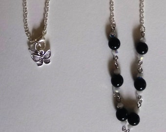 Black beads and silver Butterfly set