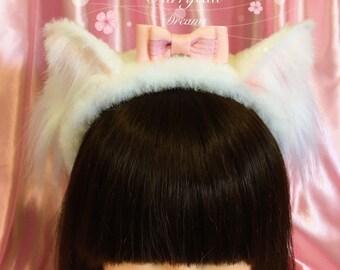 White cat ears furry headband