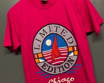 S vintage 80s 1989 Chicago sailboat tourist t shirt