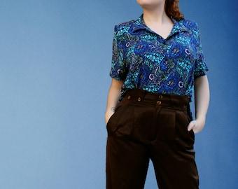Paisley Pattern 70's shirt / Blue Indigo Turquoise Persian Pattern Blouse/ 1970's Shoulder Pads Oriental Pattern