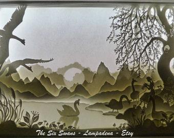 The Six Swans - Handmade paper cut lightbox