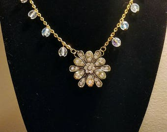 Crystal and gold tone pendant necklace, Crystal Beads on a gold tone chain, Wedding Necklace, gift for her, Pendant necklace