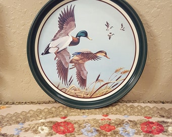 Vintage Avon collectable metal tray, Mallards in Flight, Chesapeake Collection. Nature decor, duck tin platter.
