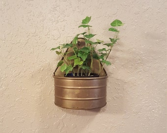 Vintage brass wall planter.  Small boho wall pocket.  Eclectic planter.