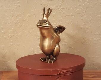 Vintage brass frog prince figurine.  Large heavy brass frog prince.  Figurine, paperweight, door stop.
