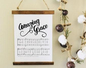 Amazing Grace Sign/Amazing Grace Sheet Music/Amazing Grace/Teacher Christmas Gift/Grief Gift/Gift for Mom/Music Gift/Music Teacher Gift/Gift