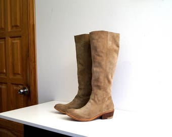 BRONX Riding boots Eu38 UK 5 US 7,5 Light brown genuine nubuck leather womens boots Knee High Biker Boots Low heel casual boots Cowboy boots