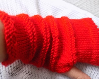 Pair of knit fingerless gloves, red color, size fits most.