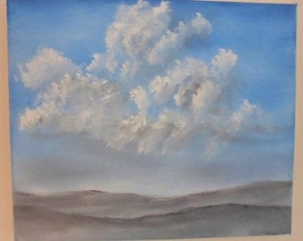 Summer Clouds, oil painting, original painting, landscape painting, blue painting, birthday gift, home decor, husband gift, anniversary gift