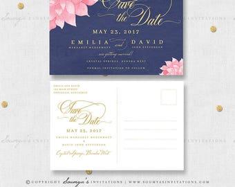 Navy Blush Gold Wedding Save the Date, Navy Blue Blush Pink Floral Dahlia Wedding Save the Date, Navy Blush Wedding, PRINTABLE Save the Date