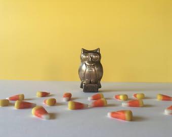 Vintage Brass Owl, Brass Figurine, Owl Decor, Vintage Advertisement, Halloween Decor, Brass Paper Weight