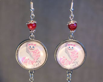 "Earrings ""cat in Alice in Wonderland country rose"" fantasy"