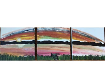 3 canvas triptych painting grassy dock sunset