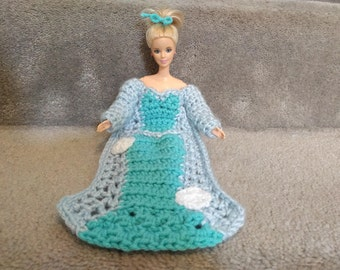 Ice Princess Dress Blanket, 11.5 in Fashion Doll clothes, Princess Blanket Crochet Pattern, Crochet Doll Patterns, 1/6 scale Doll blanket