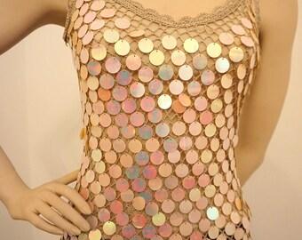 Pailletten Netzhemd Party-Top, net sequin shirt, party shirt, size M (see meas. below)