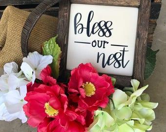 Bless Our Nest Wood Framed Sign / Farmhouse Decor / Rustic Decor