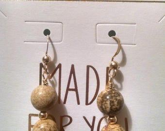 Picture Jasper Gold Filled Earrings