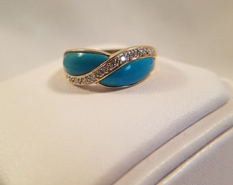 Turquoise and Diamond Ring