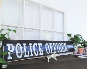Thin Blue Line Sign. Police Officer Wood Sign. Police Officer Gift. Cop Sign. Rustic Wall Decor. Police Wall Hangings. Wooden Police Sign.