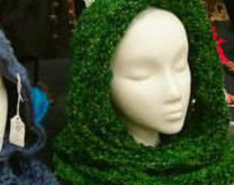 Grass Green Hood Infinity Scarf